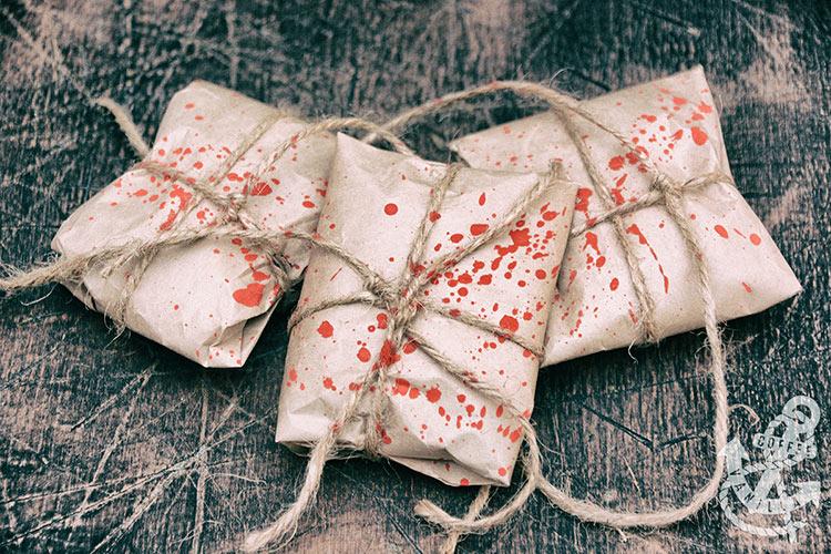 creepy blood splatter parcels
