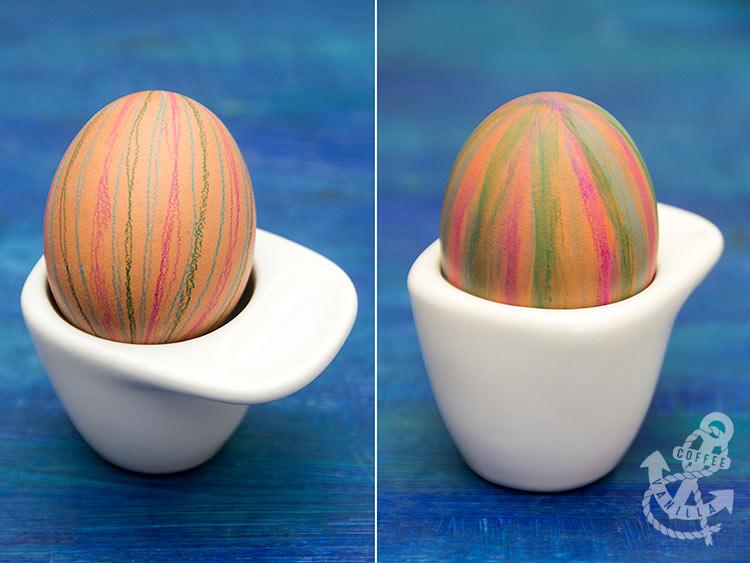 watercolour pencil decorated eggs