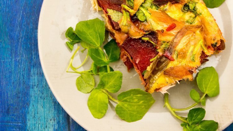 Beetroot & Mackerel Frittata – Cooking For Fitness: Eat Smart, Train Better by James Haskell & Omar Meziane